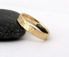 Mens Wedding Band Gold Wedding Ring Unique Wedding by GoldSmack