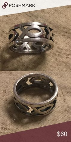 James Avery continuous ichthus band Sz 5 Sterling. Normal wear James Avery Jewelry Rings