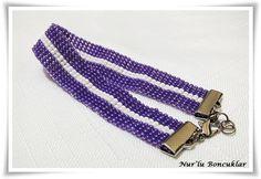 DIY Peyote Mor-Beyaz Bileklik / DIY Purple-White Peyote Bracelet