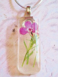 Real Pressed Purple Lupine Suspended in Resin Silver Necklace. No shipping fees! $19.99