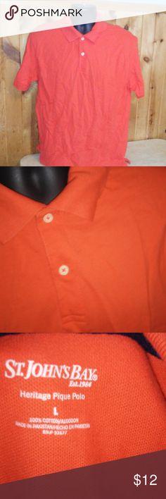 ST johns bay men L red orange polo shirt T3 men size L 100% cotton St. John's Bay Shirts Polos