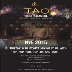 Together As One ~ NYE at Tinseltown, 88 West Pender, Vancouver British Columbia, V6B 6N9, Canada on December 31, 2014 to January 01, 2015 at 9:00 pm to 4:00 am.  Celebrate New Years at an exquisite private lounge with full amenities including smoking & vape patio, plush VIP seating, and wine bar.  $45 Reg $60 VIP Bypass line-up Complimentary Champagne  URL: Booking: http://atnd.it/18743-1  Category: Nightlife  Price: See Website