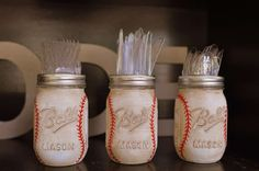 Decorated mason jars at a vintage Mickey baseball birthday party! See more party planning ideas at CatchMyParty.com!