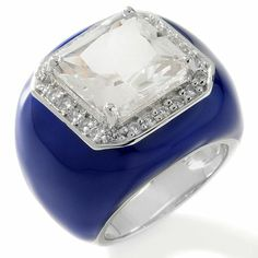 CL by Design Created Quartz and White Topaz Enamel Ring there is one left in black enamel size 10 for $10!!!!!!!!!  I was even liking the blue for me then thought it would even look good on a he and then saw the black - wow it is for anyone, nice