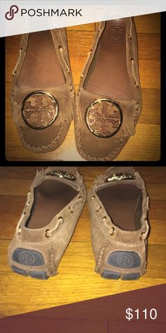 Authentic Tory burch moccasins Loved these so much. Only worn three times tried to make it work but I bought the wrong size :( brown and gold I got so many compliments Tory Burch Shoes Moccasins