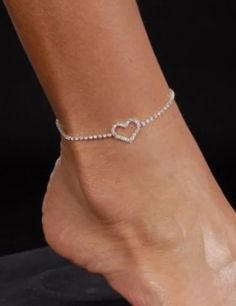 Fashion Heart Anklet Crystal Anklet Foot Chain Super Cool Foot Jewelry Ankle Chain Fashion Heart Anklet by addfavor Anklet Jewelry, Rhinestone Jewelry, Bridal Jewelry, Women's Anklets, Heart Jewelry, Women's Jewelry, Ankle Chain, Accesorios Casual, Ankle Bracelets