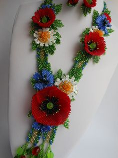 Beaded necklace Flower necklace Spring necklace Red poppy