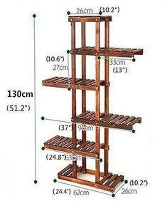 5 Tier Wood Shelf Plant Stand Bathroom Rack Gardening Planter Holder Carbonized