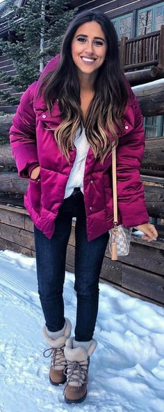 #winter #outfits  purple zip-up hooded jacket and blue denim jeans
