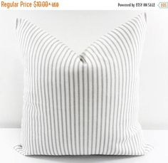 Grey and white classic Stripe print Pillow cover. Our pillow covers are SLIPCOVERS for your pillows! This ensures a snug fit and a plumper looking pillow☺. Pillow Slip Covers, Decorative Pillow Covers, Cushion Covers, Printed Sofa, White Sofas, Ticking Stripe, Cover Gray, Home Decor Fabric, Fabric Crafts