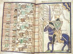 """Harleian ms. 3244, folios 27-28, Summa Vitiorum or """"Treatise on the Vices"""" by William Peraldus, ca. 1255-1265, knight preparing to battle the seven deadly sins with the """"Scutum Fidei"""" ."""