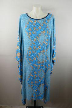 NWT Size 16 18 Ladies Blue Kaftan Tunic Dress Beach Swim Cover Up Casual Design