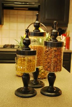 unfinished candlesticks, unfinished finials and jars...a little glue/paint and beautiful!
