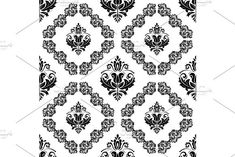 Oriental vector light pattern with damask, arabesque and floral black elements. Damask Patterns, Victorian Design, Arabesque, Vector Pattern, Abstract Backgrounds, Oriental, Floral, Cards, Flowers