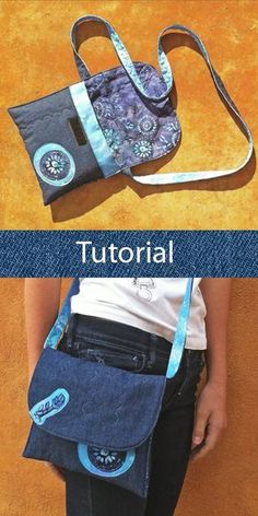 Tutorial bolso tejano: cómo hacer un bolso con vaqueros reciclados y tela de batik. Jean bag tutorial: how to make a handbag with recycled jeans and batik fabric. Large Toiletry Bag, Tote Bag With Pockets, Diy Tote Bag, Recycle Jeans, Recycled Denim, Bag Patterns To Sew, Patchwork Bags, Denim Bag, Knitted Bags
