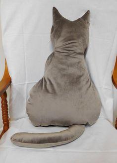 Cat Cushion, Soft Fabrics, Larger, Combat Boots, Cushions, Kitty, Velvet, Silhouette, Grey