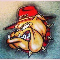 October 1922 -The U. Marines adopted the English bulldog as their mascot… Marine Tattoo, Marine Corps Tattoos, Usmc Tattoos, Tatoos, Military Love, Military Girlfriend, Military Art, Military Signs, Military Insignia