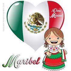 BANCO DE IMAGENES GRATIS: Pida usted el nombre que quiera en esta bonita postal de corazón con bandera, mensaje de viva México y nombres de mujeres...