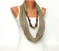 brown jewelry scarf with beautiful beads