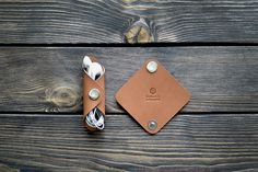 Leather Cord holder. iPhone cable organizer. Handmade