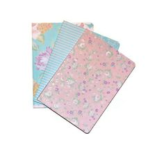 Glitter Spring Pastel Set of 3 Blank Journals Florals and Stripes Sparkling Gifts Craft Supplies (8.50 USD) by BlingThingsOriginals