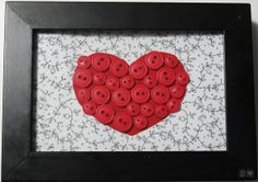 Buttons, fabric & frame for a heart decoration