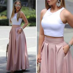 Ankle-Length Sleeveless Round Neck Dresses, Shop plus-sized prom dresses for curvy figures and plus-size party dresses. Ball gowns for prom in plus sizes and short plus-sized prom dresses for Best Casual Outfits, Classy Outfits, Chic Outfits, Look Fashion, Girl Fashion, Fashion Dresses, Womens Fashion, Friends Fashion, Fasion
