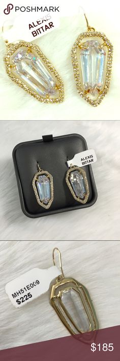 "Alexis Bittar Havisham Shield Encrusted Earrings Perfect condition, ship with display box. Sold out everywhere! On trend shape and design, very high quality. 2"" drop, 3/4"" width, gold tone with cubic zirconia accented by Swarovski crystals. Alexis Bittar Jewelry Earrings"