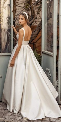 "Lihi Hod Fall 2020 Wedding Dresses — ""White Blossom"" Bridal Collection lihi hod fall 2020 bridal sleeveless straight across thick straps minimalist a line ball gown wedding dress chapel train bv -- Lihi Hod Fall 2020 Wedding Dresses Fairy Wedding Dress, Sweetheart Wedding Dress, Country Wedding Dresses, Colored Wedding Dresses, White Wedding Dresses, Bridal Dresses, Wedding White, Wedding Dress Simple, Witch Wedding"