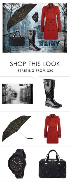 """Rainy Day in the City"" by nicole022487 ❤ liked on Polyvore featuring Sperry, Accessorize, Burberry, Rip Curl, Chanel, WorkWear, travel, black, red and rainyday"