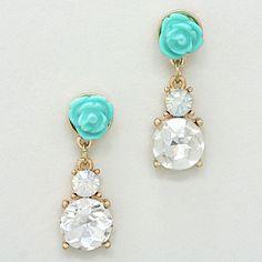 Crystal Rose Earrings in Turquoise