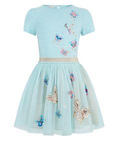 Monsoon | Disco Butterfly Dress | Blue | 9-10 Years