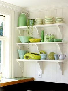 sweetestesthome:  Open Season These shelves showcase two trends — open storage and cottage style — in one installation. Support simple planks on purchased brackets. Let wall space dictate the dimensionsClick to check a cool blog!Source for the post: Click