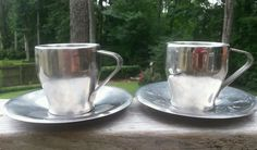 Pair Breville Cafe Roma Espresso Cups Italian Coffee Demitasse Stainless Lot 2 #Breville