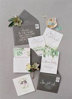 Elegant grey garden inspired wedding paper suite: Photography : Jose Villa Photography Read More on SMP: http://www.stylemepretty.com/2016/10/12/fall-wine-country-garden-wedding/