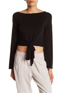 YFB Clothing   Largo Long Sleeve Front Tie Blouse   HauteLook