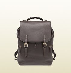 72f7c997957758 Gucci - dark brown leather backpack. Dark bamboo handle $3400 Men's Backpack,  Canvas Backpack