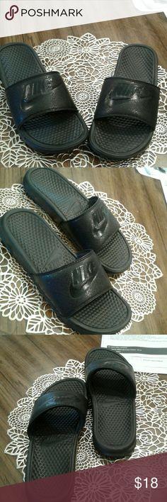 huge discount 5d9b1 30a63 Shop Mens Nike Black size 10 Sandals  Flip-Flops at a discounted price at  Poshmark. Description Black slides for men, worn once, very comfortable  slides.