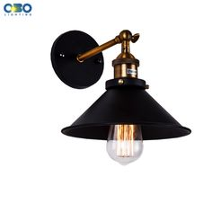 Vintage Iron Black Painted Wall Lamp Bedroom Foyer Warehouse Outdoor/Indoor Lighting E27 Lamp Holder 110-240V Free Shipping
