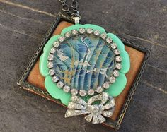 Assemblage Necklace bakelite mother of pearl by OldNouveau on Etsy