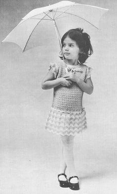 Vintage 1970s Girls Dress Crochet Ripple Pattern PDF
