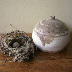 Raw and Organic Anagama wood fired porcelian Birch Bottle via nestingemily