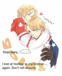 Canada and America Hetalia --- silly America! NO ONE screws with Canadian hockey~