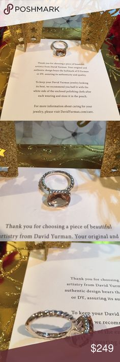 💯💍David Yurman classic cable morganite size 5 🎄gorgeous Morganite pale blush pink elegance .  DY hallmark 925 and signature pouch included. Can size of needed. Plz ask me😘 David Yurman Jewelry Rings