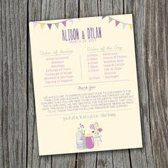 Wedding Order of Service  Printable Custom DIY  by SplashOfSilver, $35.00