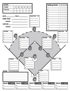 Printable PDF Baseball Scorecard Lineup Count Sheets