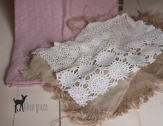 Absolutely LOVE this layering set from lilian grace- frayed burlap, crochet, linen & mauve backdrop