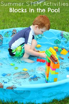 We love summer STEM activities! Engineering with blocks in a kiddie pool is a fun way to add STEM play and learning to a normal summer activity. Pool Activities, Educational Activities For Kids, Summer Activities For Kids, Preschool Activities, Kids Fun, Toddler Play, Toddler Preschool, Stem Learning, Stem For Kids
