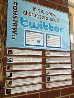 """This fun DIY technology-themed book display shows tweets """"written"""" by characters of popular YA books and challenges teens to figure out what book they came from. This could be a great reading comprehension activity in the classroom!"""