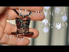 Steampunk charm: cylinder z modeliny / polymer clay top hat [TUTORIAL]